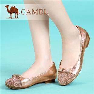 camel骆驼 羊皮圆头低跟浅口单鞋子 简约水钻女单鞋 春季新款