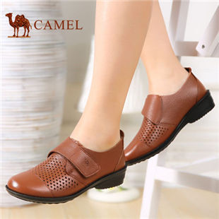 Camel 骆驼女鞋春季新款日常休闲魔术贴扣带单鞋牛皮单鞋镂空女鞋