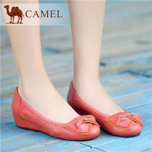 聚camel骆驼女鞋正品真皮浅口单鞋舒适中跟女鞋内增高 2014春鞋
