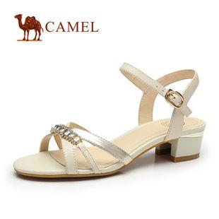 Camel骆驼女鞋凉鞋 时尚水钻羊皮休闲舒适露趾凉鞋 2014春季新款