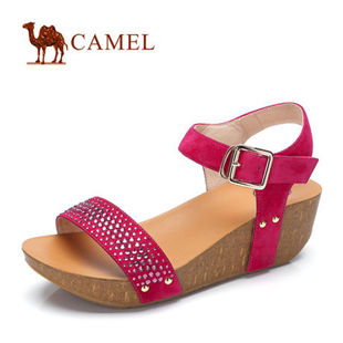 预售Camel骆驼女鞋 时尚休闲羊京露趾厚底坡跟凉鞋 2014新款