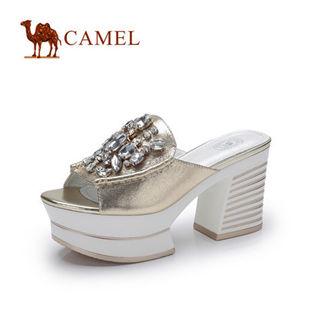 预售Camel骆驼女鞋 时尚水钻牛皮粗跟凉拖鞋 2014春季新款