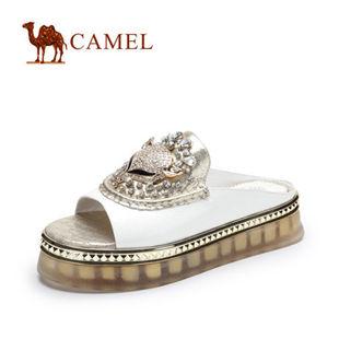 预售Camel骆驼 牛漆皮水钻休闲舒适女凉拖鞋 2014春季新款