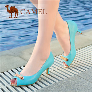 聚camel骆驼 欧美浅口蝴蝶结鱼嘴时尚舒适高跟女单鞋 2014新品