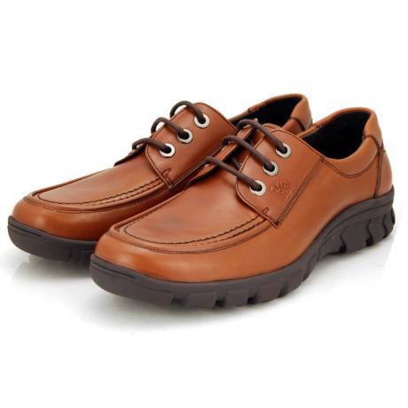 骆驼男鞋camel-0433655-头层牛皮优雅商务休闲男鞋烟草色