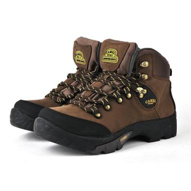 骆驼男鞋camel-0650013-防滑磨砂皮户外登山鞋棕色