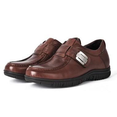 骆驼男鞋camel-0690531-内增高款超软牛皮时尚商务休闲男鞋棕色