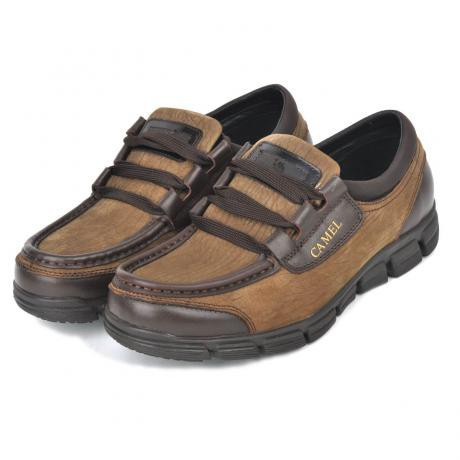 骆驼男鞋camel-1600011-超强质感磨砂牛皮商务休闲鞋卡其色