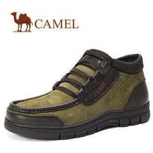 全民疯抢!奢华气质 camel 骆驼 正品 男靴子 真皮 高帮靴 男靴1600053