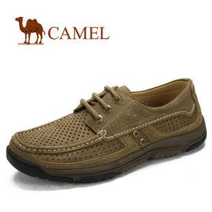 camel 骆驼 男鞋 真皮 打孔透气日常休闲男鞋 2012新款 2066055