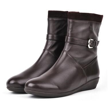 骆驼女鞋camel-08602498-新款时尚潮流女款中筒棉靴啡色