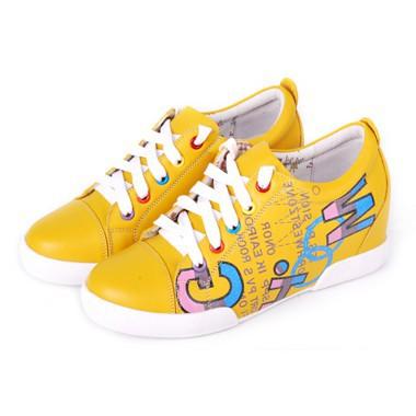 骆驼女鞋camel-0914121-简约时尚真皮品牌休闲女鞋淡黄色