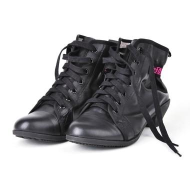 骆驼女鞋camel-1032421-软面皮复古风情个性粗跟矮靴黑色