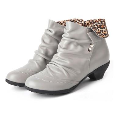 骆驼女鞋camel-1032521-头层牛皮时尚淑女风格矮靴灰色