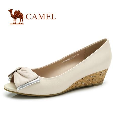 camel春季新品 甜美时尚 气质蝴蝶结真皮女单鞋