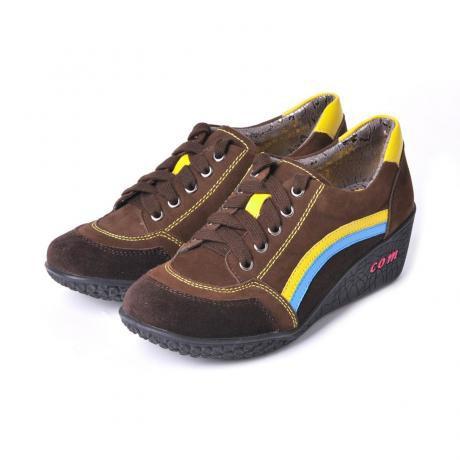 骆驼女鞋camel-274121-时尚磨砂休闲女鞋黄色