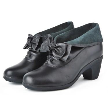 骆驼女鞋camel-589321-头层牛皮时尚淑女真皮矮靴黑色