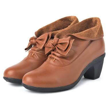 骆驼女鞋camel-589321-头层牛皮时尚淑女真皮矮靴土黄色
