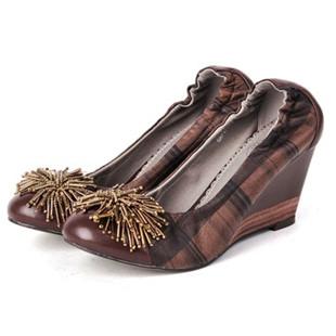 骆驼女鞋camel-740711-格纹羊皮女士时尚休闲单鞋棕色