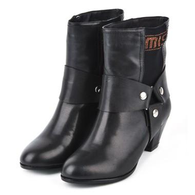 骆驼女鞋camel-782113-甜蜜舒适女士中筒靴黑色