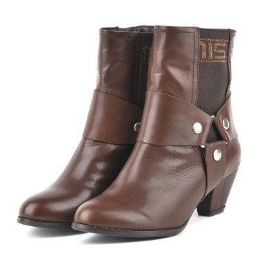 骆驼女鞋camel-782113-甜蜜舒适女士中筒靴咖啡色