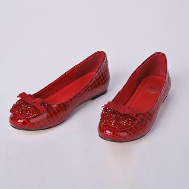 骆驼女鞋camel-96810-蛇纹牛皮简约时尚女士单鞋红色