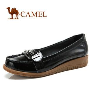 camel 骆驼 女鞋 光泽亮丽 真皮休闲女单鞋 2012春款 1005015