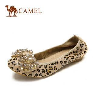 camel骆驼 女鞋 单层牛皮 珠花 豹纹 时尚休闲单鞋1011007