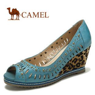 camel 骆驼 2012新款 女鞋 真皮坡跟单鞋 1013009