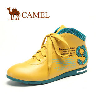 camel 骆驼 内增高 女鞋新款 真皮时尚炫彩水钻靴子 坡跟单鞋1140001