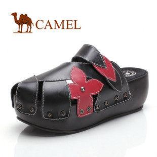 CAMEL美国骆驼 时尚休闲牛皮防水台女士拖鞋1032828