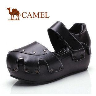 CAMEL美国骆驼 女鞋 个性镂空牛皮女士凉鞋 防水台成型底 1060135