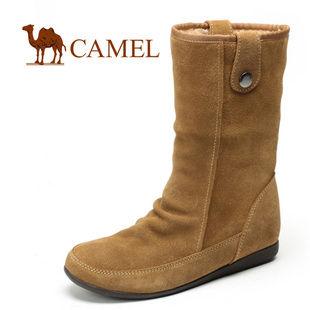 清仓特卖!CAMEL骆驼 正品舒适女鞋 真皮雪地靴 高筒冬靴子 女1006007