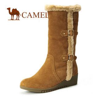 【淘金币】camel骆驼 女鞋 反绒牛皮女款休闲雪地靴 1006010