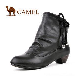 CAMEL 美国骆驼女鞋 褶皱皮时尚迷你女款短靴3131481