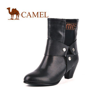 CAMEL美国骆驼782113 女靴 羊皮甜蜜舒适女士中筒靴 中跟