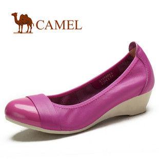 【2012春款】camel 骆驼 女鞋 时尚绚丽休闲鞋 坡跟单鞋1058055