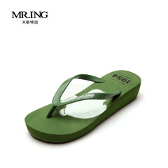 米斯特因mring人字拖女水果大白图案沙滩鞋坡跟人字拖女T1307